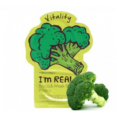 Tony Moly Тканевая маска для лица с экстрактом брокколи I'm Real Broccoli Mask Sheet Vitality, 21