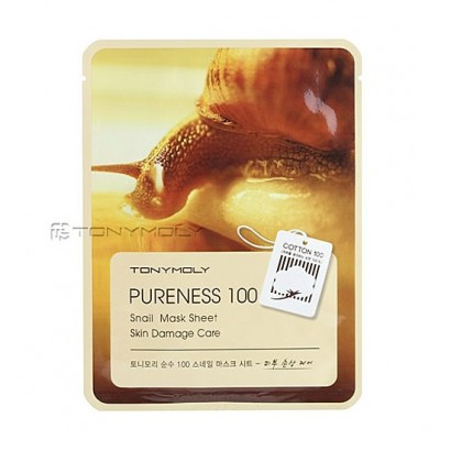 Tony Moly Тканевая маска с фильтратом улитки Pureness 100 Snail Mask Sheet Skin Damage Care, 21мл