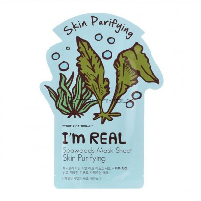 Tony Moly Тканевая маска с экстрактом морских водорослей I'm Real Seaweeds Mask Sheet Skin Purifying, 21