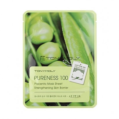Tony Moly Тканевая маска для лица с фито-плацентарным экстрактом соевых бобов Pureness 100 Placenta Mask Sheet Strengthening Skin Barrier, 21