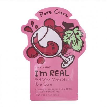 Tony Moly Тканевая маска с экстрактом красного вина I'm Real Red Wine Mask Sheet Pore Care, 21