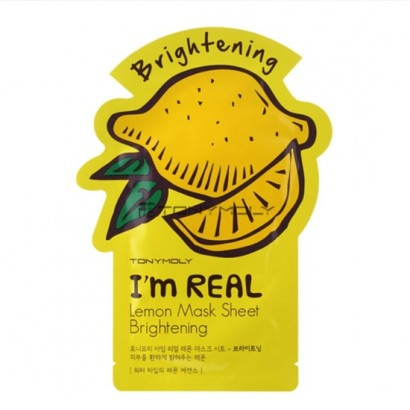 Tony Moly Осветляющая маска для лица с экстрактом лимона  I'm Real Lemon Mask Sheet Brightening, 21