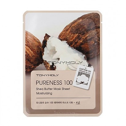 Tony Moly Маска с экстрактом масла ши Pureness 100 Shea Butter Mask Sheet Moisturizing, 21